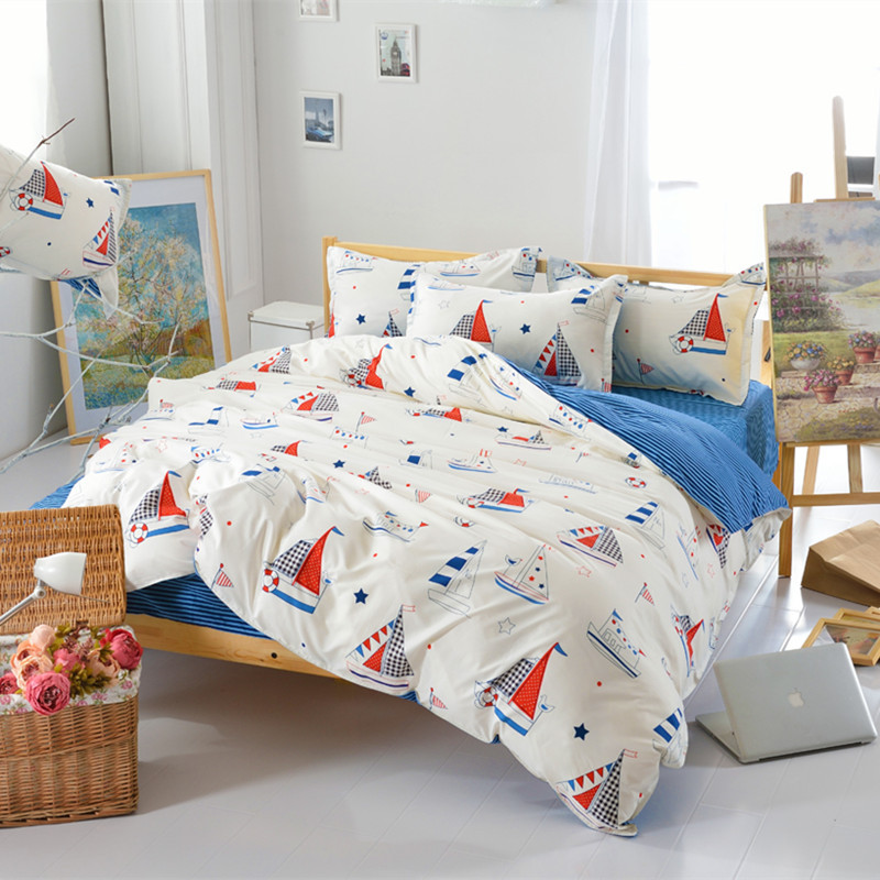 3-4pcs 100% Polyester Bedding Set Cartoon Sailboat Printing Duvet Cover Sets For Single Double Bed Children Adults XF344-9