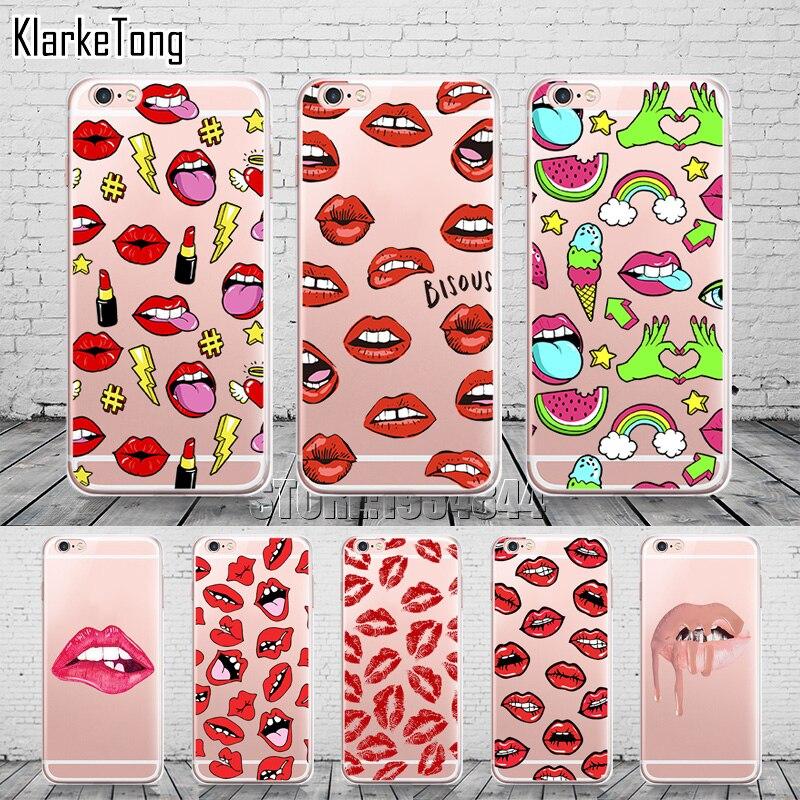 Caja del teléfono para iphone 6 labios de graffiti sexy girl kylie 6 S 5 5S SE 7