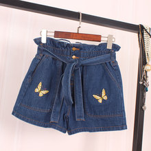 2016 new summer fashion slim denim shorts shorts female personality Butterfly Embroidery feeding belt