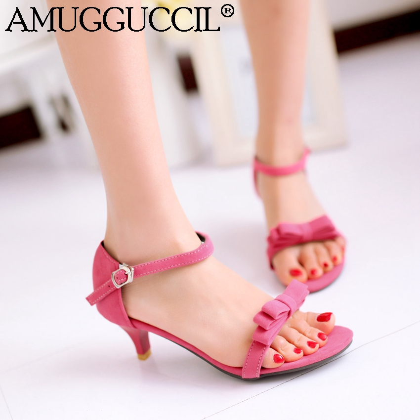 Plus Big Size 31-43 Red Pink Blue Black Green Bowtie Fashion Sweet Mid Heel Girls Female Lady Summer Women Sandals L343 armoire summer hot sales women sandals red black beige blue ladies sexy high heel shoes cross tied ahs 2 plus big size 31 43