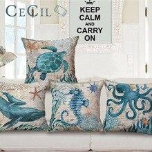 Sea Horse Turtles Octopus Pattern Pillowcases Marine Life Throw Pillows Case Home Ocean beach Cushion Cover almofadas