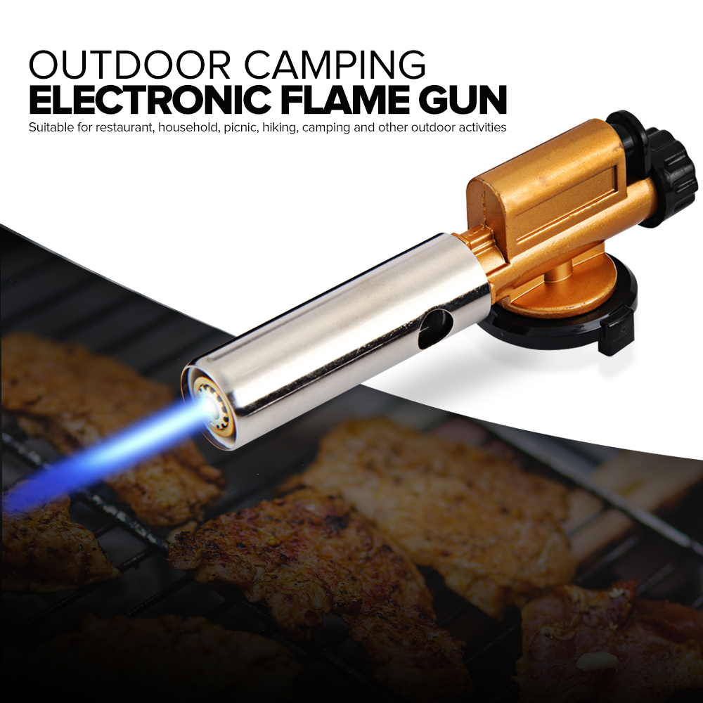 Electronic Ignition Copper Flame Butan Gas Burners Gun Maker Torch Lighter For Outdoor Camping Picnic BBQ