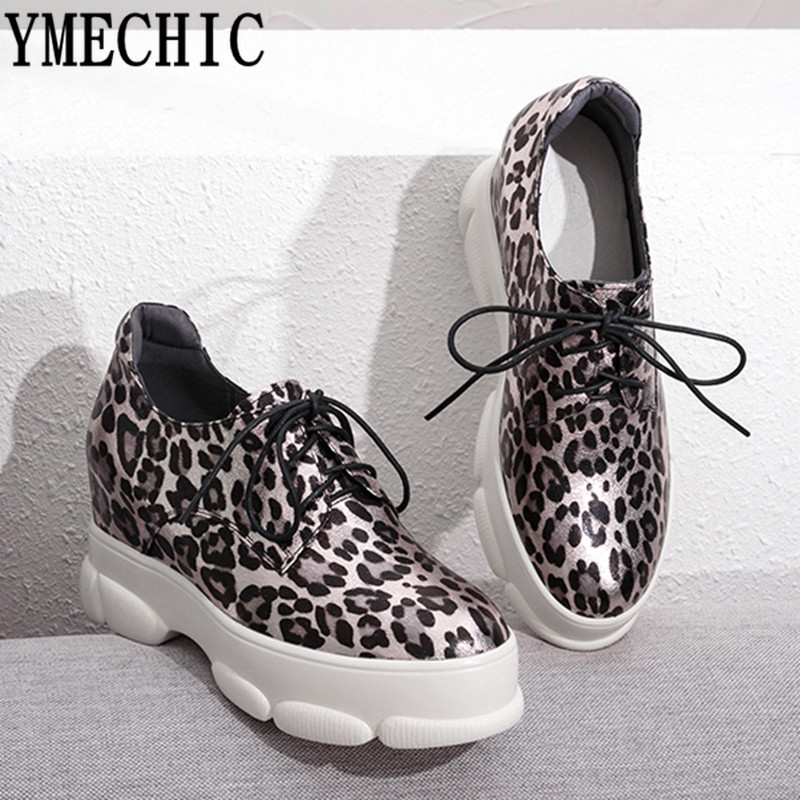 YMECHIC 2019 Large Size Leopard Print Sneakers Women Fashion Spring Patent Leather Gold Ladies Platform Shoes