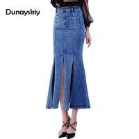 2017 nieuwe mode sexy denim vrouwen rokken rijk hoge split solid jean blauw zakken skinny mid-kalf trompet rok vrouw slanke