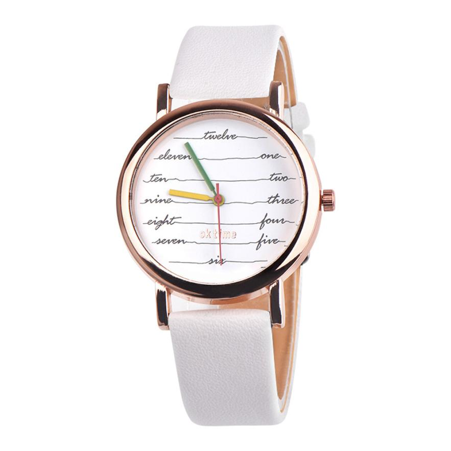 New fashion branded watch women watches quartz Simple white clock buckle leather strap W ...