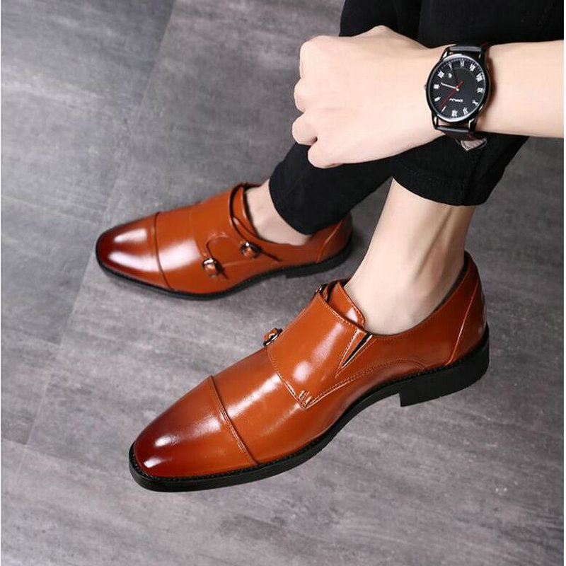 Mens Dress Shoes Formal Men Monk Shoes Oxford Shoes For Men Wedding Dress Brand Leather Double Buckles Shoes  big size  LH-88Mens Dress Shoes Formal Men Monk Shoes Oxford Shoes For Men Wedding Dress Brand Leather Double Buckles Shoes  big size  LH-88