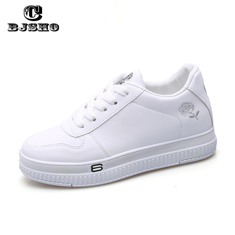 CBJSHO New Spring White Shoes Casual Women Shoes Canvas Embroidered Woman Platform Flat Shoe Female Thick Soled Sneakers women s shoes net surface hollow out casual womens shoe 2017 summer new breathable thick soled white fashion woman women shoes