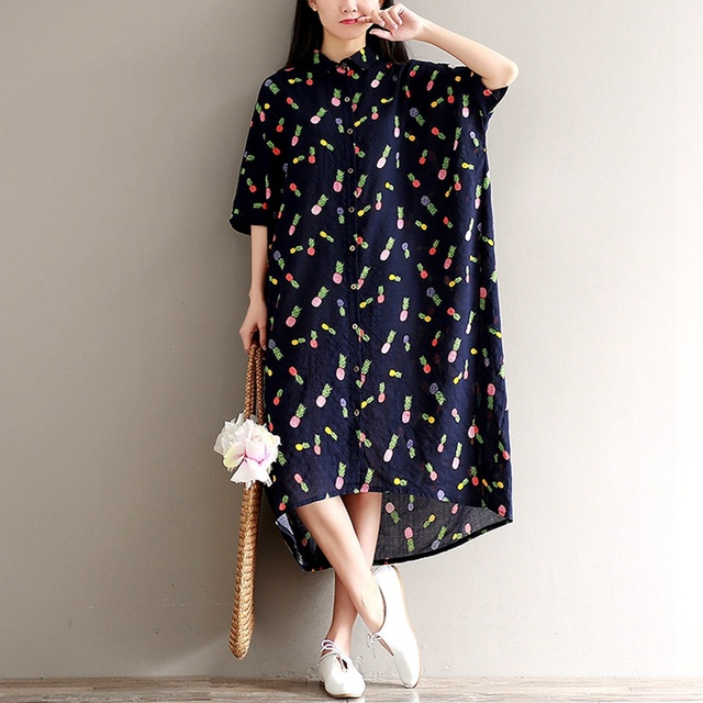 10c09b30ae 2017 New Summer Dress Floral Print Loose Waist Women Dress Square Dress  Blue Color Women Clothing