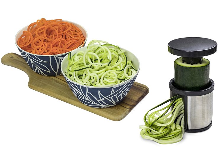 1PC Manual Spiralizer Vegetable Slicer Stainless Steel Spiral Cutter With Cleaning Brush Zoodle Maker Kitchen Gadgets QA 083
