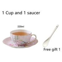 Robin pattern ceramic coffee cup set small luxury cup saucer spoon set for afternoon tea