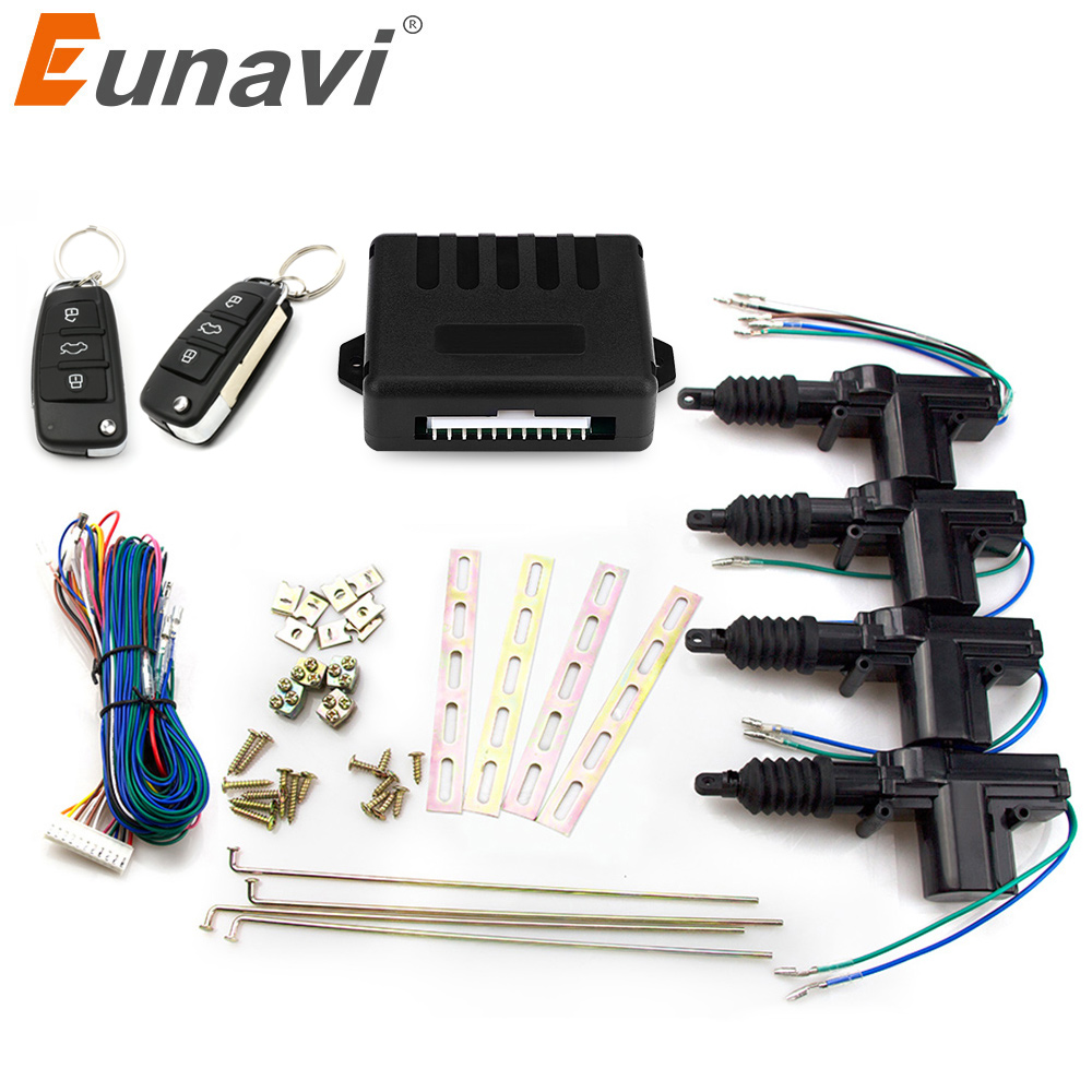 Eunavi Universal Car Remote Control Central Locking Keyless Entry System Car Power Door Lock Actuator 12-Volt Motor (4 Pack) door lock motor general purpose actuator kit door lock motor keyless entry concentrated for universal car 12 v power door lock