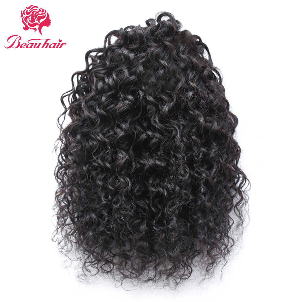 Beauhair12-16inch Brazilian kinky Curly Hair Drawstring Ponytail 100% huamn Hair Extension nature color  Non remy hair for women