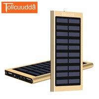 Tollcuudda Solar Power Bank Ultra Thin 10000 MAh Super Slim Metal Powerbank External Battery Mobile