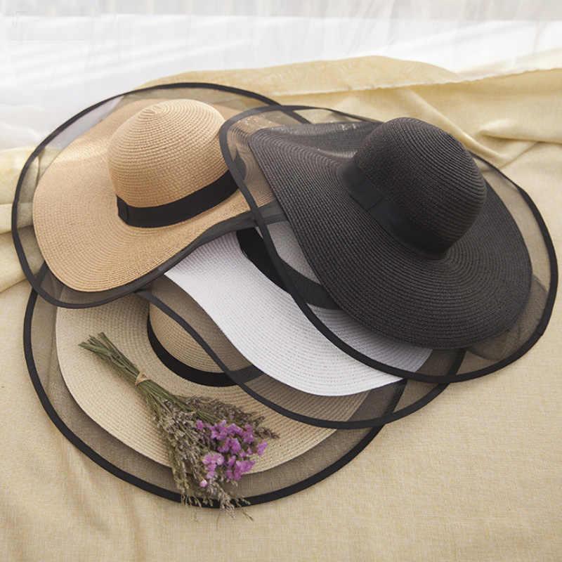 Jerami Musim Panas Telah untuk Wanita Topi Pantai Topi Fashion Visor Topi Wanita Round-Atas Matahari Hat UV perlindungan Perjalanan Topi Hitam