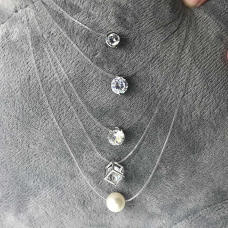 새로운 패션 모조 진주 크리스탈 지르콘 목걸이 보이지 않는 투명 낚시 라인 여성 목걸이 도매