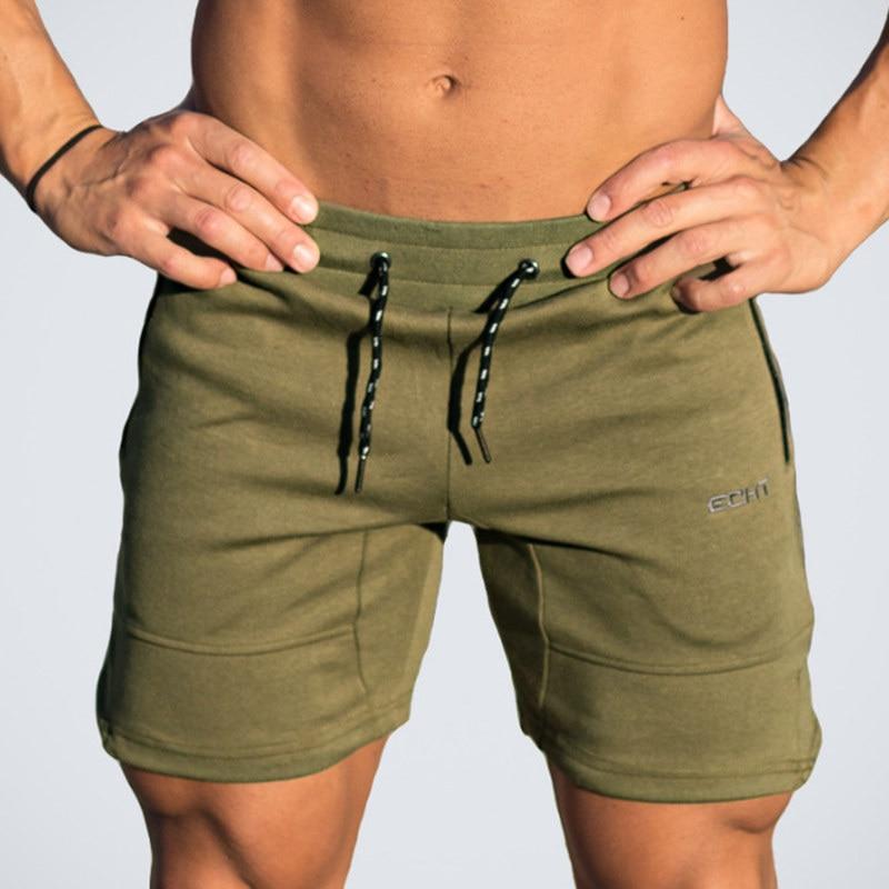 Mens Gym Fitness cotton shorts Run jogging sports bodybuilding Calf-Length training Sweatpants 2018 New male workout short pants
