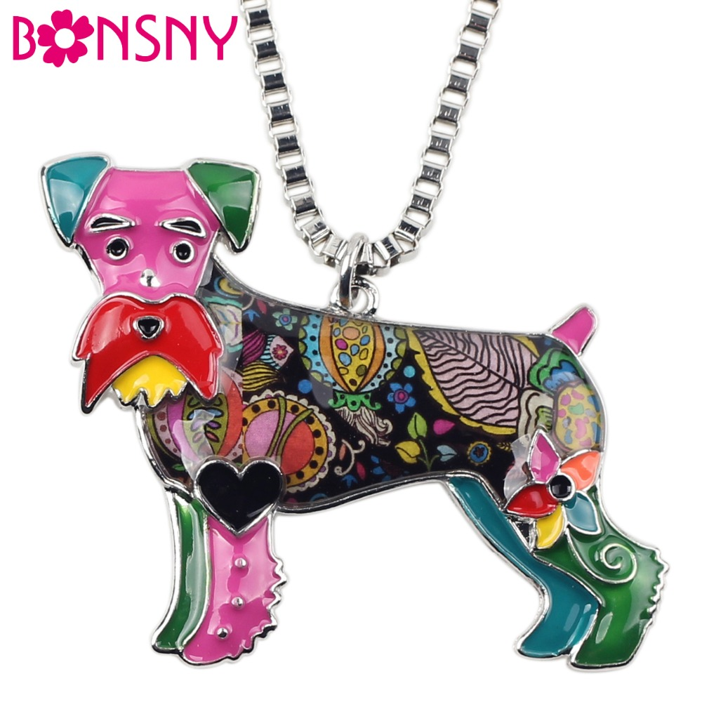 Bonsny Statement Maxi Alloy Enamel Schnauzer Dog Terrier Choker Necklace Chain Pendant Collar Fashion New Enamel Jewelry Women
