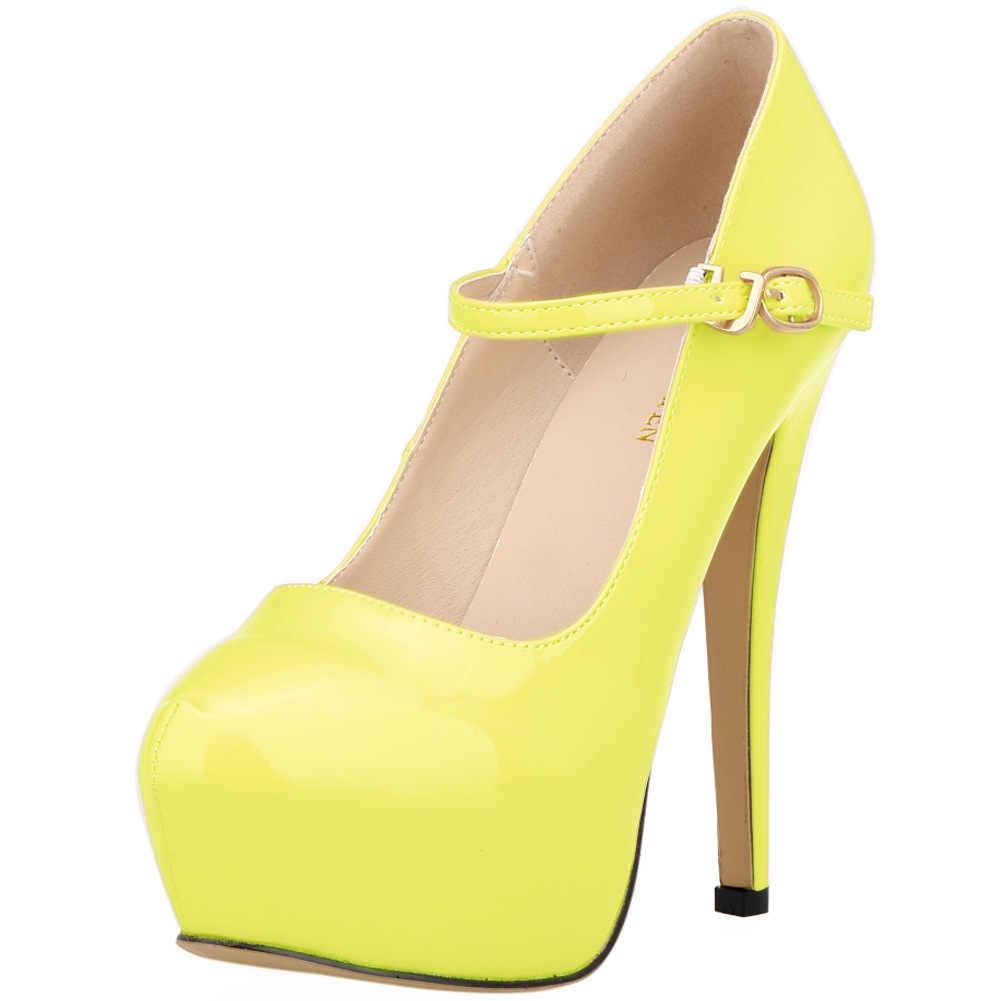 Kadın pompaları şeker deri yüksek topuklu PU kadın ayakkabı Sivri Burun 14 CM Ince Topuklu Su Geçirmez platformu düğün elbisesi Ayakkabı