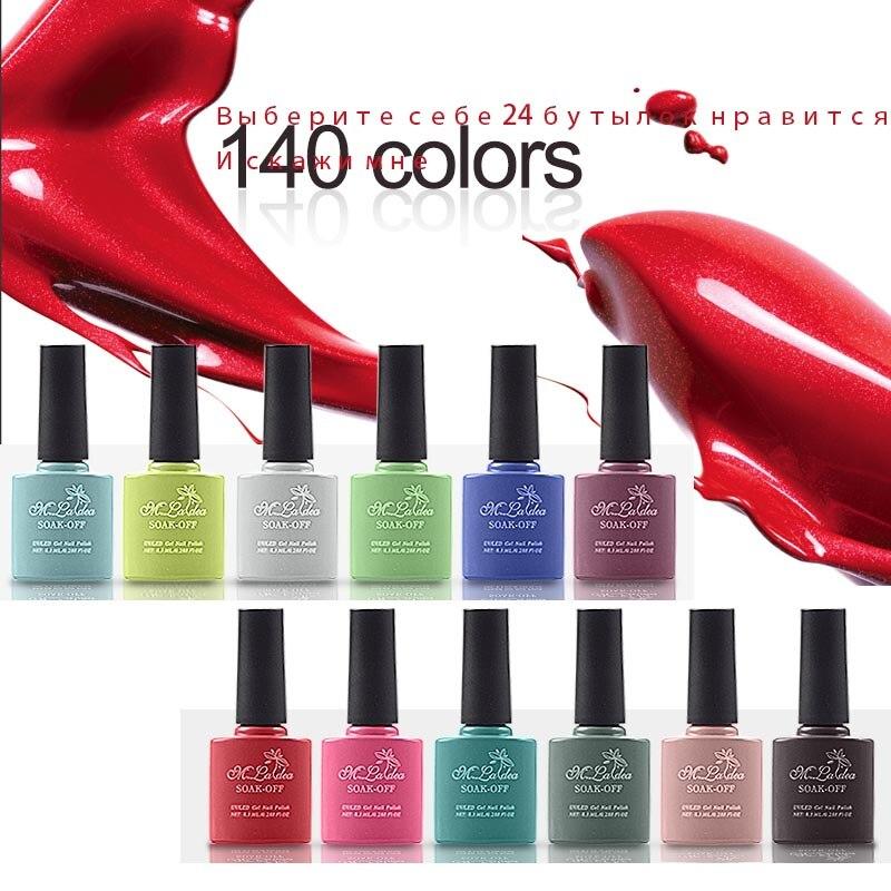 24 pcs color  bottles UV nail gel Sapphire Gel M.ladea Gel Polish 8.3ml Color Bottle Soak Off  Lasting 140  Color жидкость domix green professional nail gel polish remuver