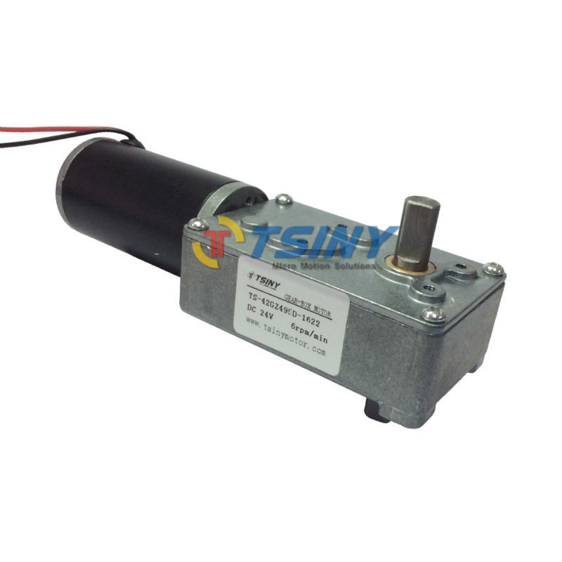 Motor DC Worm Reducer 24 Volt 6 Rpm,Low Speed Electric Motores of Biaxial shaft,double axis ,4pcs /lot Free Shipping