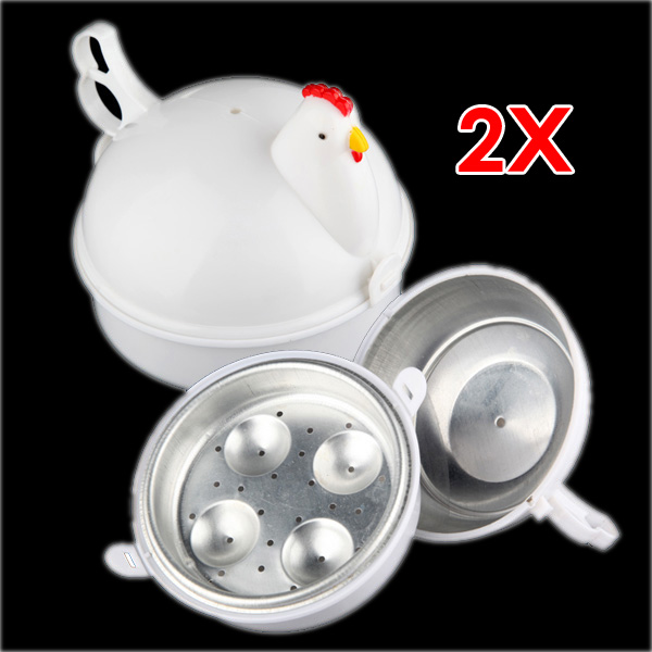 PHFU 2pcs NEW Chicken Shaped Microwave 4 Eggs Boiler Cooker NOVELTY ...