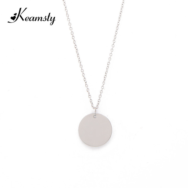 Keamsty round pendant initial necklaces custom name necklace keamsty round pendant initial necklaces custom name necklace personalized engraving choker stainless steel blank disc for mozeypictures Gallery