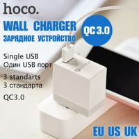 HOCO Brand QC3.0 Quick Charge Single USB Wall Charger EU US UK Plugs Portable for iPhone Universal Charging Adapter