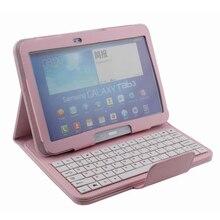 """Universal 10.1 """"cubierta de la tableta pc soporte del teclado del bluetooth desmontable para samsung galaxy tab 3 p5200 cuero partido case 4 colores"""