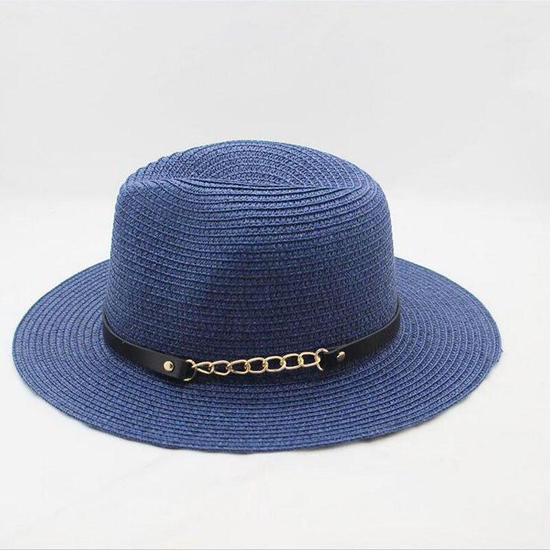 SUOGRY Summer Hats For Women Men Straw Sun Hat Wide Brim Leather Chain Beach Panama Bucket Hat Female Male Sunhat Chapeau Femme in Men 39 s Sun Hats from Apparel Accessories