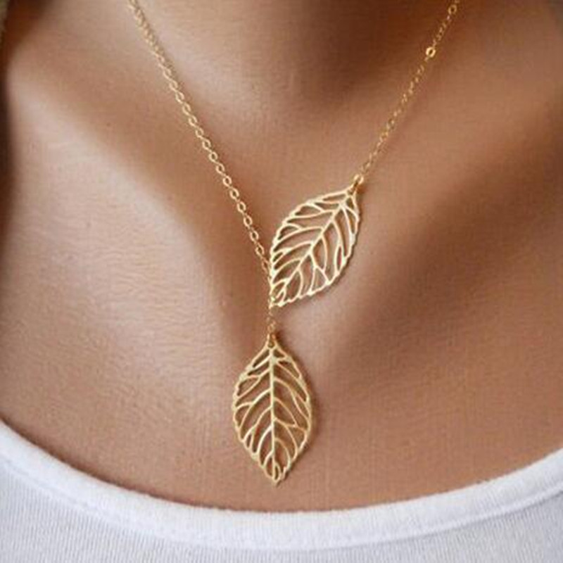 2019 Hot Fashion Gold Silver Plated Chain Necklace Leaf Casual Beads Long Strip Pendants Gifts Women Necklaces Jewelry