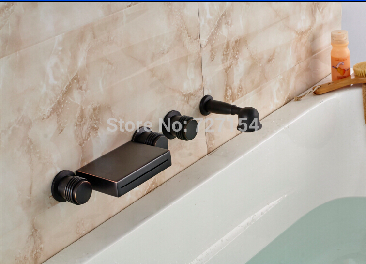 Wall Mounted Oil Rubbed Bronze Bathtub Faucet Square Spout Mixer W/ Hand Shower