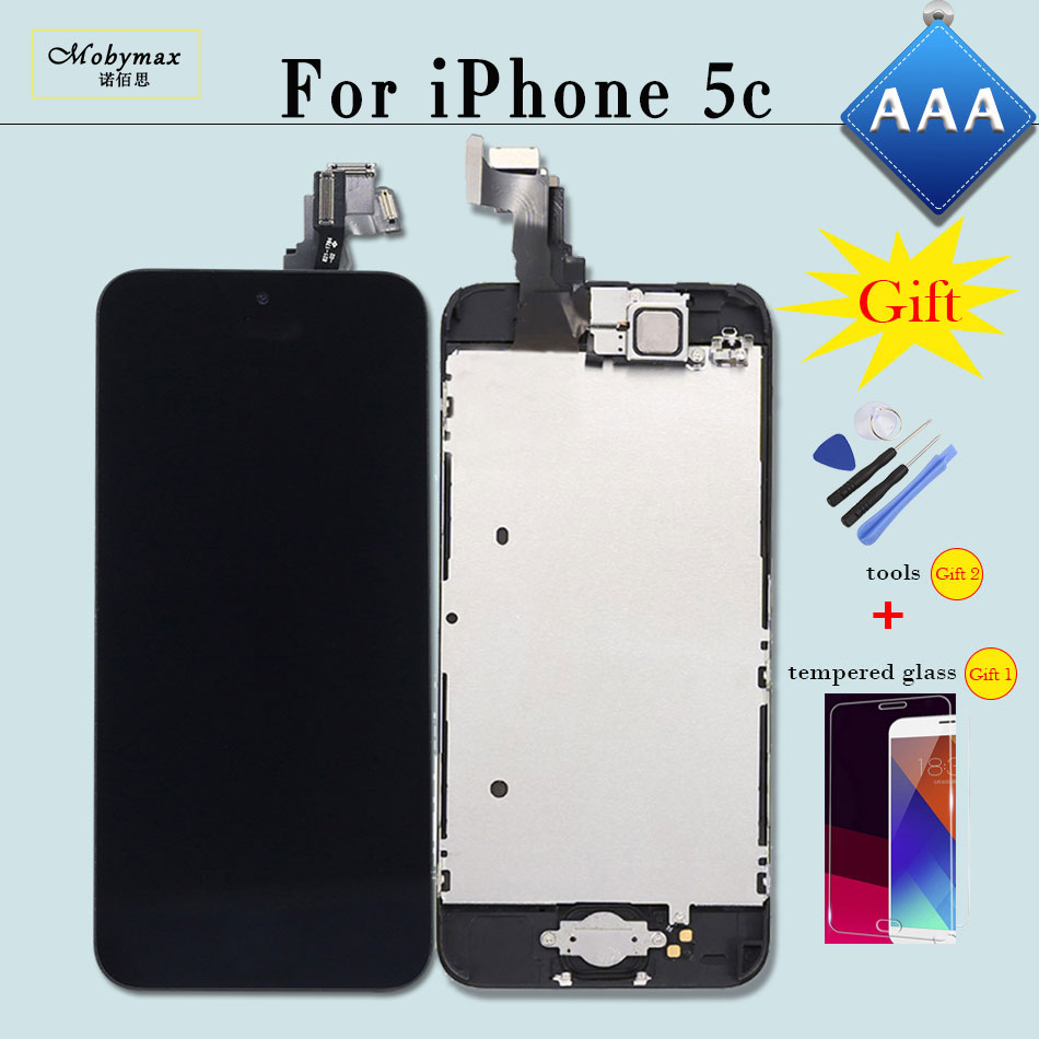 Mobymax AAA Ecran Pantalla Module for iPhone 5C A1456 A1507 LCD Touch Screen Digitizer Full Assembly+Home Button+Front Camera ...