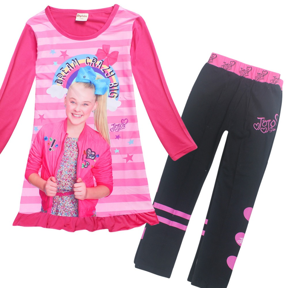 422f8aff8c 2018 Cartoon Pajamas for Girls Long Sleeve Dresses + Cotton Pants Jojo Siwa  Clothing Set Childrens Fancy Dress Teens Clothes QW1