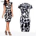 COCOEPPS Vestidos 2017 Leopard Slim Pencil Dresses Plus Size Women Clothing Casual Bandage Bodycon Summer Dress Robe