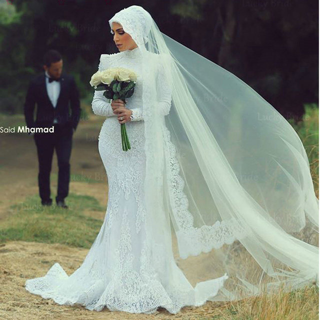 New Arrival Malaysia Long Sleeve Lace Wedding Dresses 2017 Beading ...