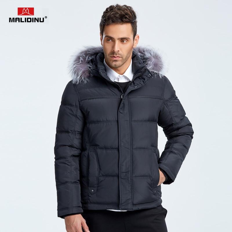 MALIDINU 2018 Brand Men Winter Down Jacket 70% White Duck Down Thick Down Coat Parka European Size Fox Fur Collar Free Shipping