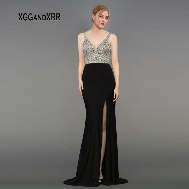 Sexy V Neck Mermaid Chiffon Black Evening Dress 2019 Shining Spaghetti Straps Prom Dress V Backless Formal Party Gown Side Slit