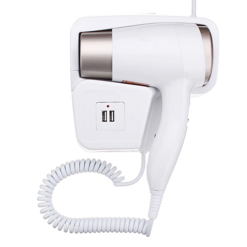 220V 1300W 2 Modes Adjustable Usb Socket Wall Hanging Type Electric Hotel Home Bathroom Hair Dryer Holder Salon Hair Blow Drye