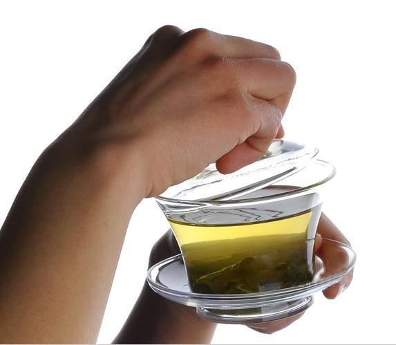 Transport gratuit Hot Vanzare Gaiwan Teapot Drinkware 150ml Flower Puer Tea Cup Cupru mare Borosilicate termorezistente Kung Fu teaset