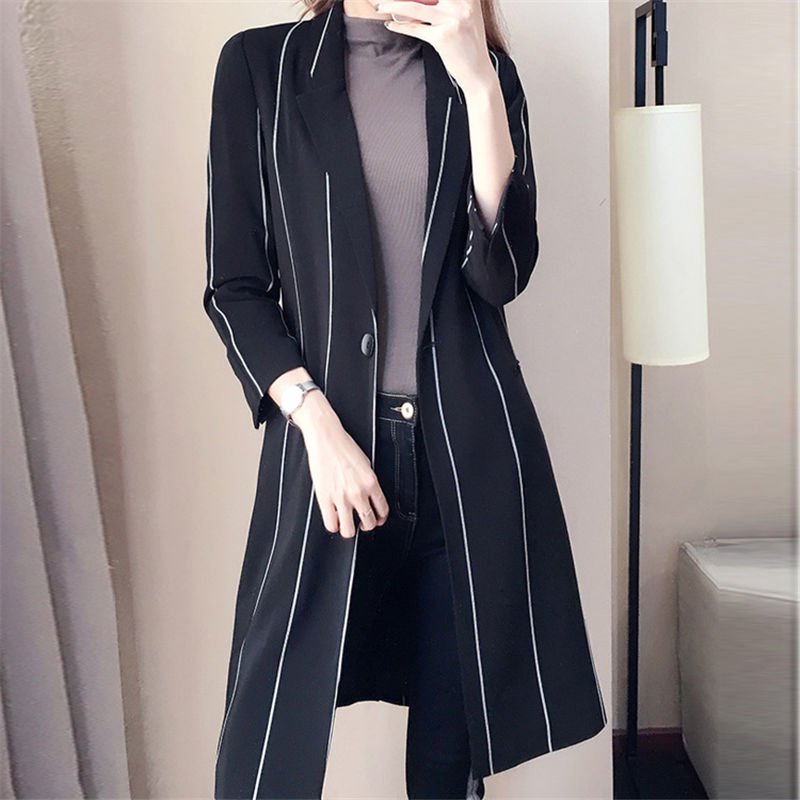 2019 NEW fashion Spring Autumn Slim Suit Collar Long Sleeve Stripes Thin Section Women's   Trench   Coats Female Blazer Outwear N779