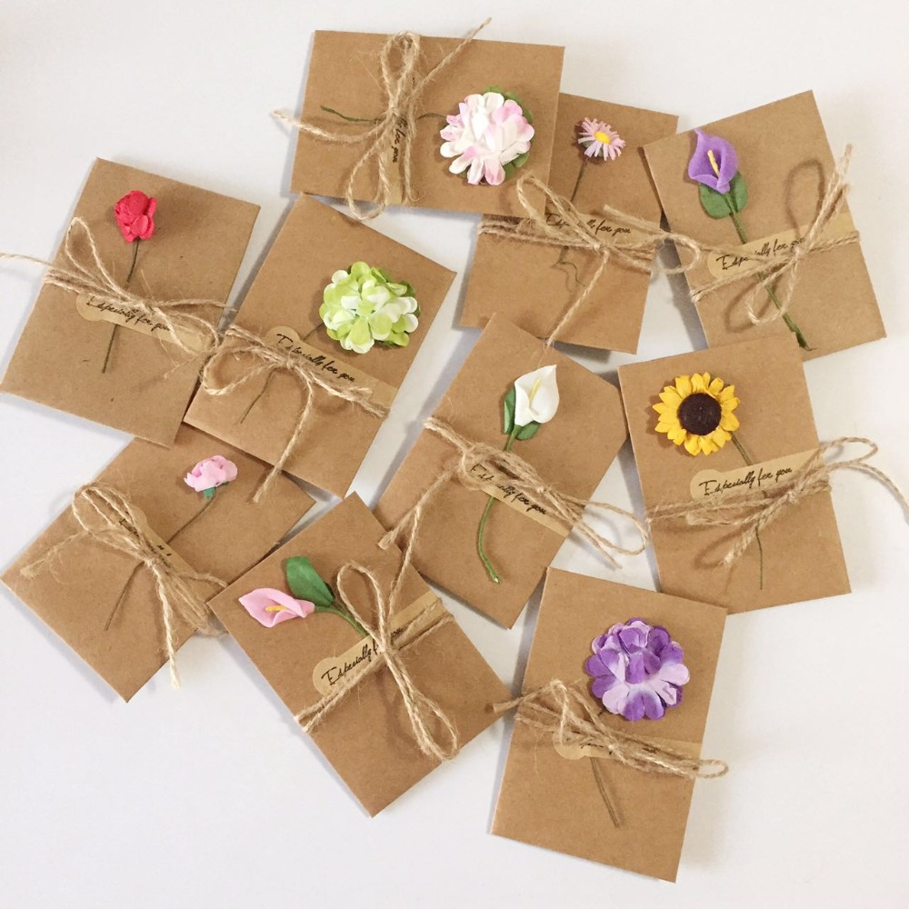 20pcs DIY Kraft Paper Handmade Dry Flower Invitation Greeting Card With Envelope Christmas