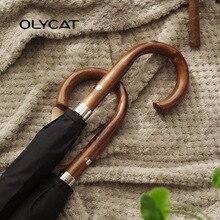 OLYCAT New Arrival Long Rain Umbrella Men Women Business Wooden Handle Large Umbrella Windproof 10Ribs Glass-fiber 300T Paraguas