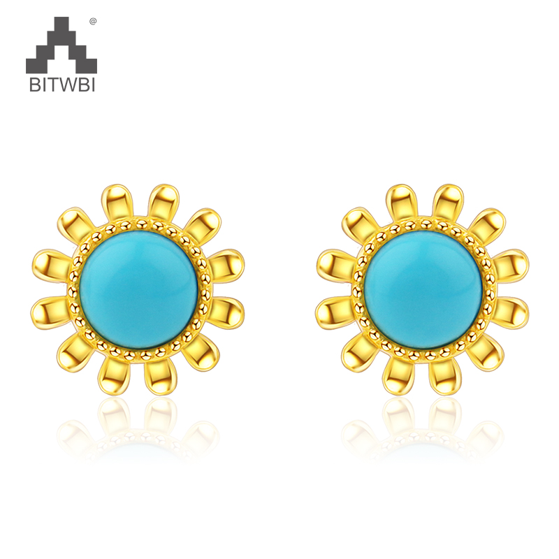 2018 Fashion Natural Turquoise Sun Flower Earrings For Women 925 Sterling Silver Gold Color Earrings купить в Москве 2019
