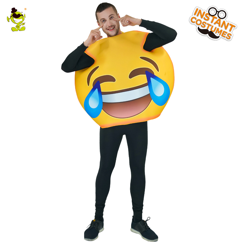 Emoji Costume Adult Unisex Cry Emoticon Costumes Halloween Party Fancy Dress