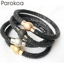 Fashionable men's 6mm genuine stingray leather top quality rose gold yellow gold black silver bracelet homme luxury