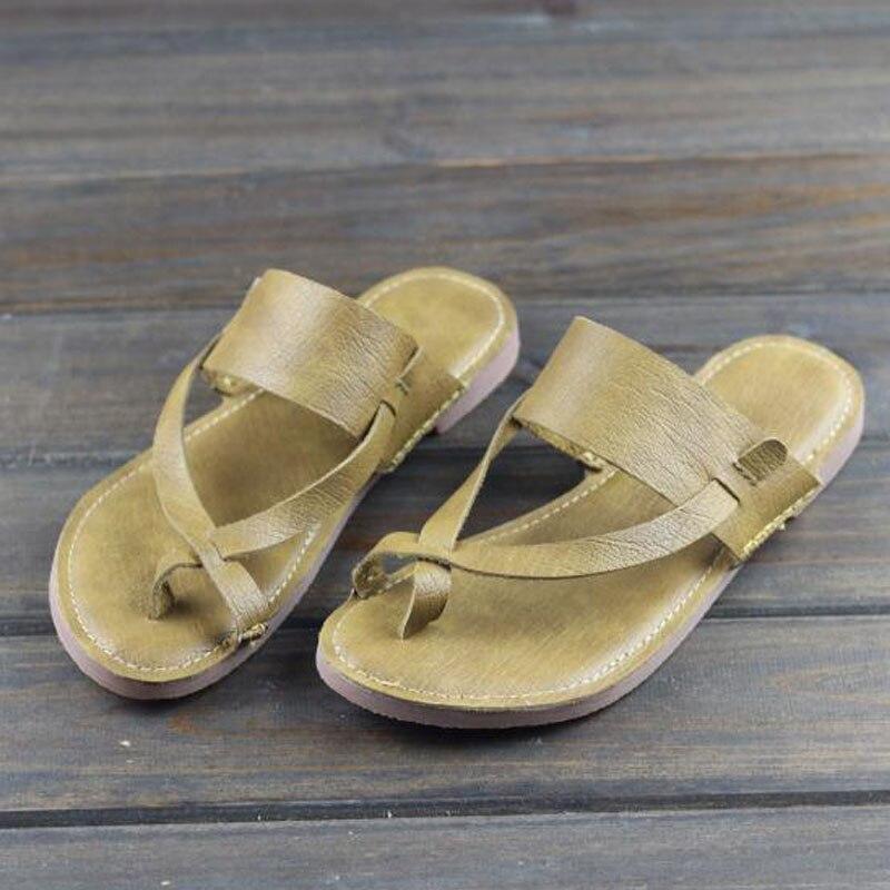 Sandalias de mujer de cuero genuino antideslizante en sandalias de mujer plana zapatos de verano suave Flexible suela de calzado mujer (016  3)-in Sandalias de mujer from zapatos on AliExpress - 11.11_Double 11_Singles' Day 1