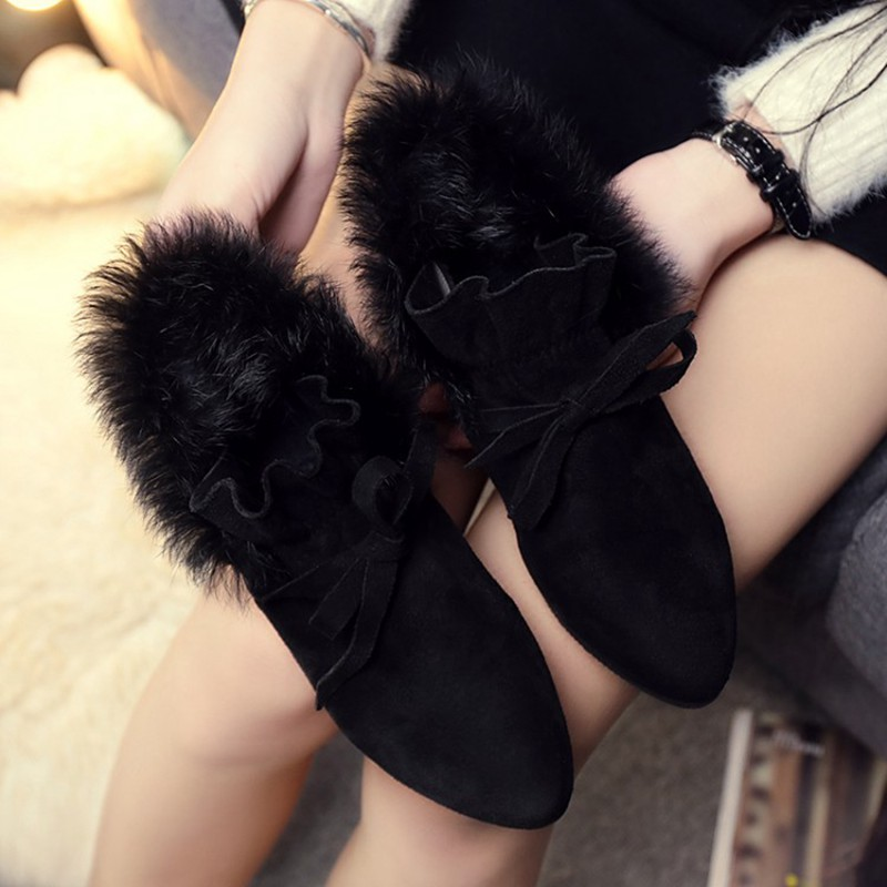 COOTELILI  Women Boots Winter Autumn Ankle Boots For Women Boots Slip On Real Fur Rubber Flat Boots Ladies Women Shoes 35-.39 (7)
