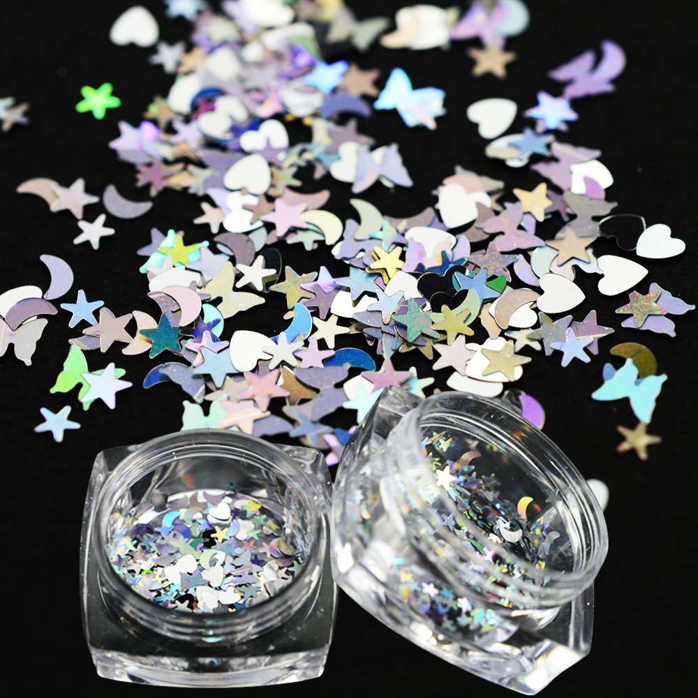 1PCS Shiny Nail Glitter Flakes Lucky Star/Moon/Heart  Sequins DIY Nail Art 3D Face Paillette Tips Decoration Manicure JILX13
