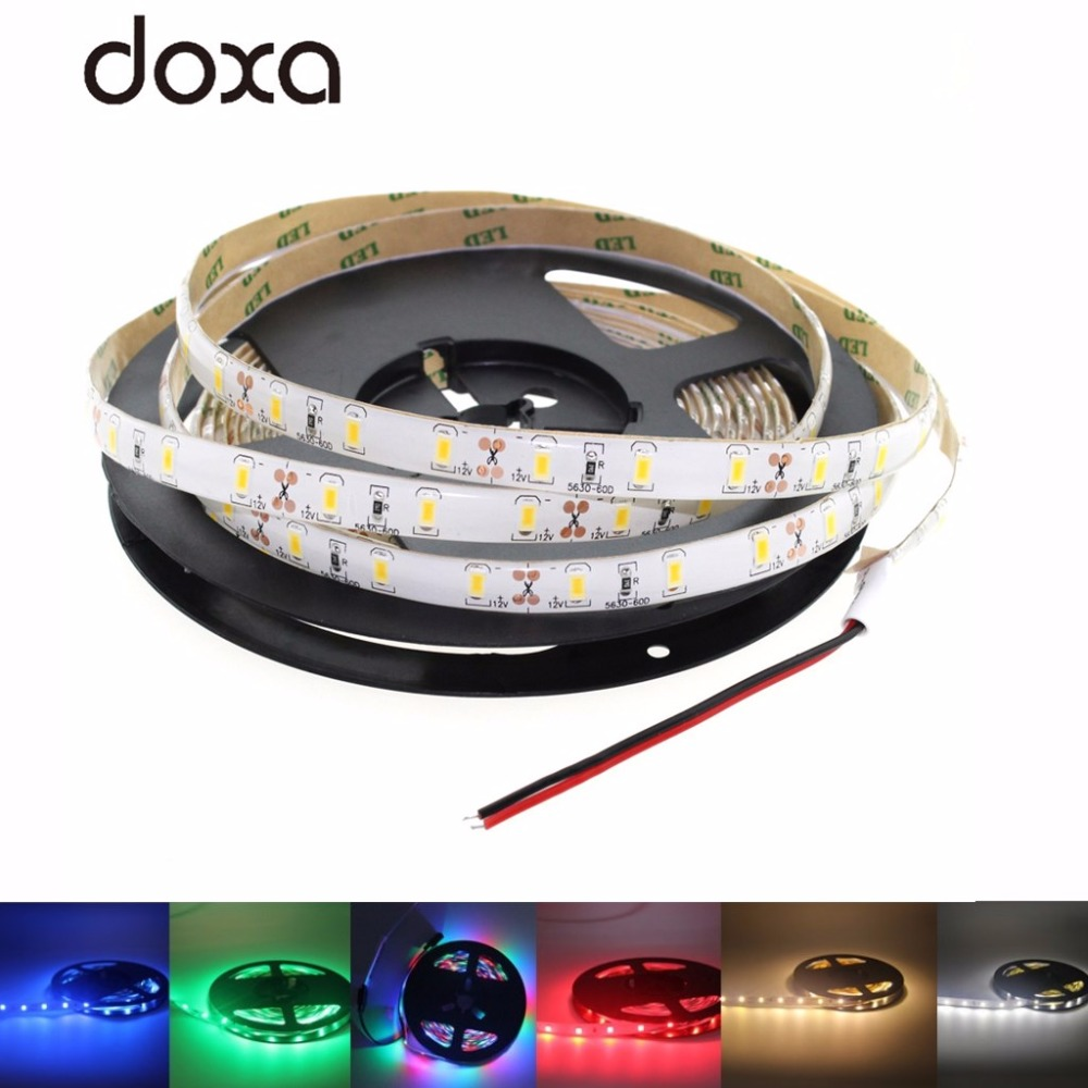 12 V LED Light Strip PC SMD 2835 60Leds/m RGB 5M LED Waterproof 12V LED Strip Tape Lamp Diode Light Ribbon Flexible TV Backlight smd 12 led extendable light strip 30cm green 12v