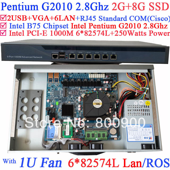 ubuntu server 1U network Firewall with six intel PCI-E 1000M 82574L LAN Intel Pentium G2010 2.8G Mikrotik ROS etc 2G RAM 8G SSD
